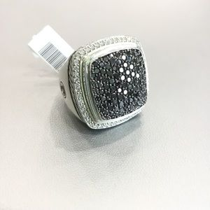 DAVID YURMAN 20MM WHITE & BLACK DIAMOND RING